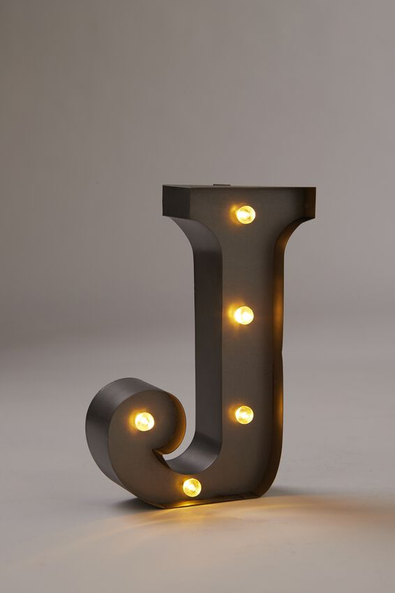 Midi Marquee Letter Lights 16cm, SILVER J