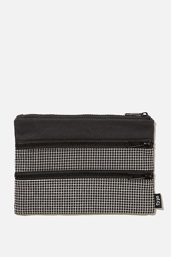 Double Archer Pencil Case, BLACK GRID