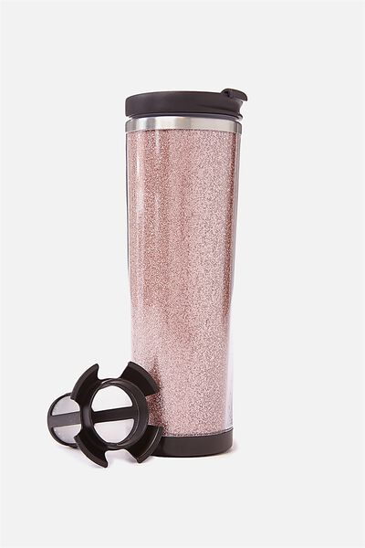 Tea-Riffic Travel Mug, ROSE GOLD GLITTER