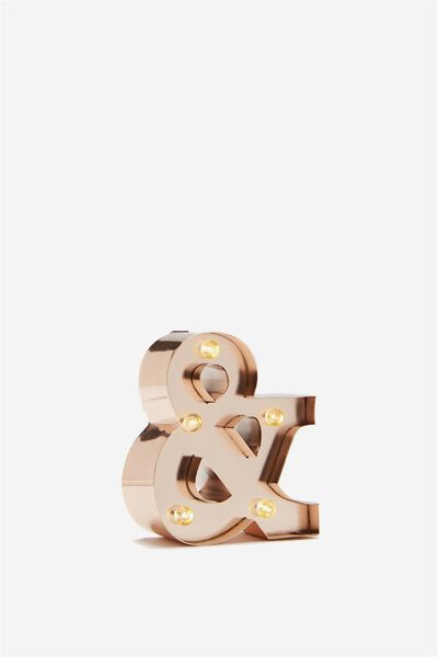 Mini Marquee Letter Lights 10cm, ROSE GOLD AND SYMBOL