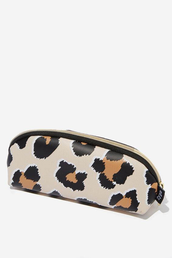 Curved Pencil Case, BROWN LEOPARD