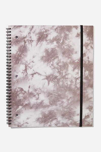 College Ruled Spinout Notebook V, BW TIE DYE