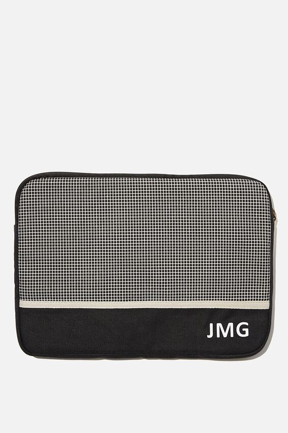 Personalised Canvas 13 Inch Laptop Case, BLACK GRID CHECK