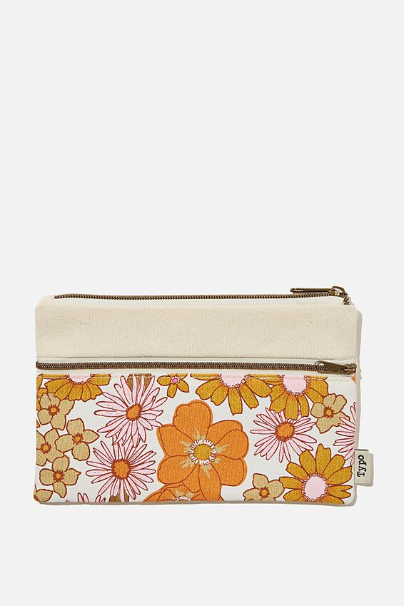 Archer Pencil Case, ORANGE AND PINK STEVIE FLORAL
