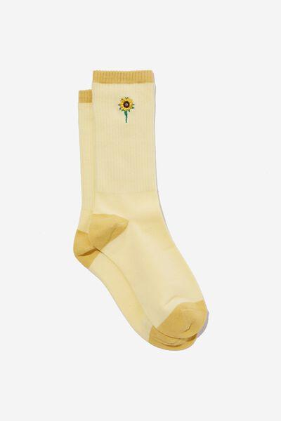 Socks, EMB SUNFLOWER