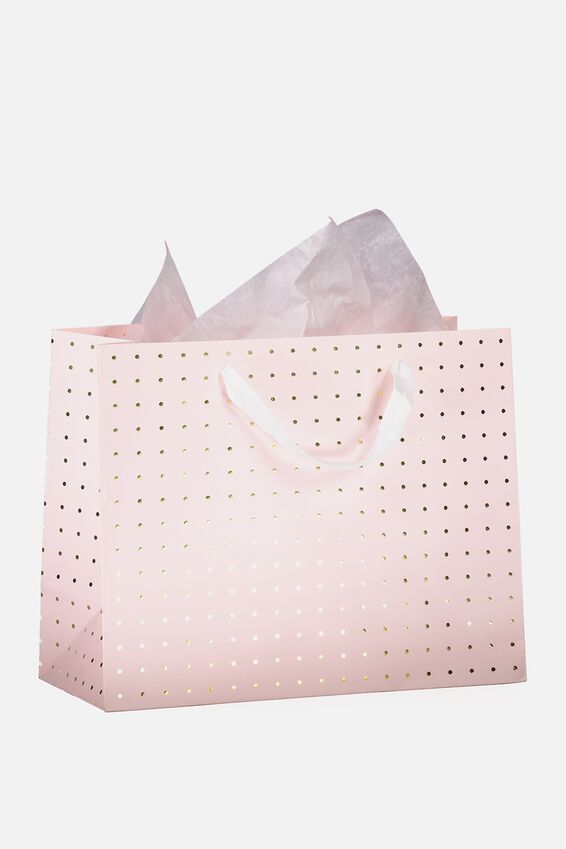 Medium Gift Bag with Tissue Paper, PINK & GOLD POLKA