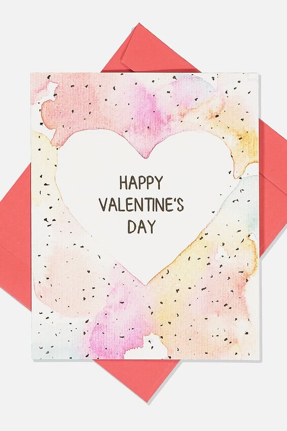 Valentines Day Card 2020, HEART WATER COLOUR VALENTINE