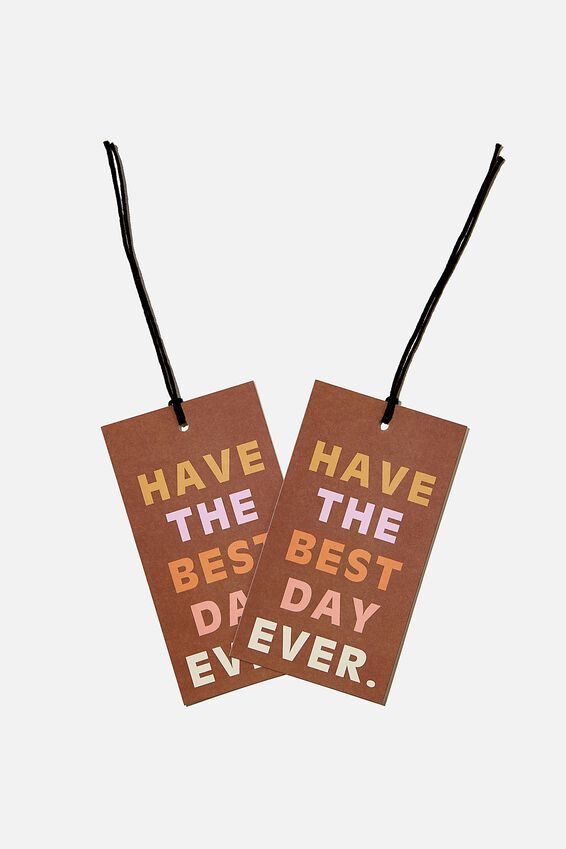 Jumbo Gift Tag Pack, HAVE THE BEST DAY EVER RUSSET