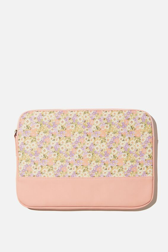 Take Me Away 13 Inch Laptop Case Pu, RG PASTEL 70S DITSY WITH PEACH CANDY SPLICE