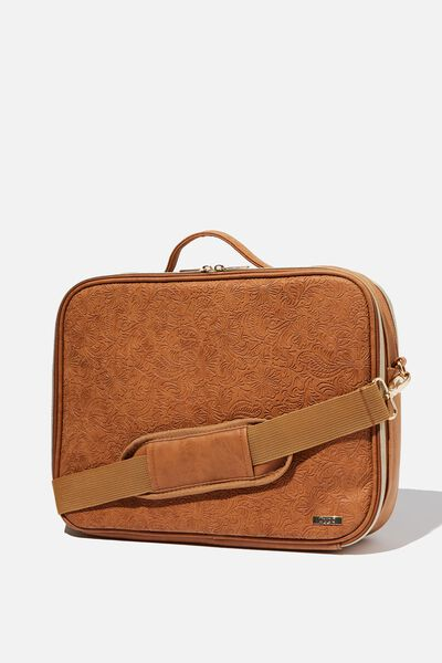 Mobile Laptop Folio, MID TAN TOOLED FLORAL