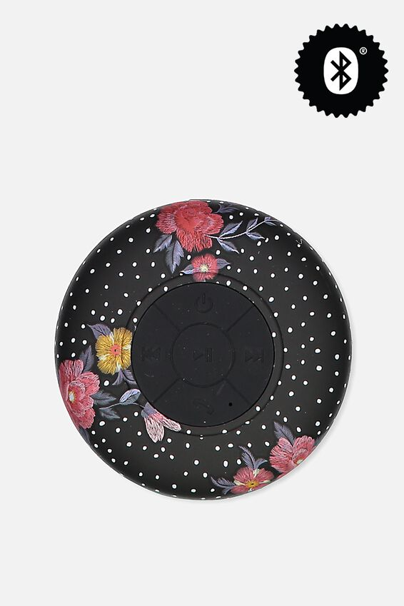 Waterproof Bluetooth Shower Speaker, BLACK DOTTY FLORAL