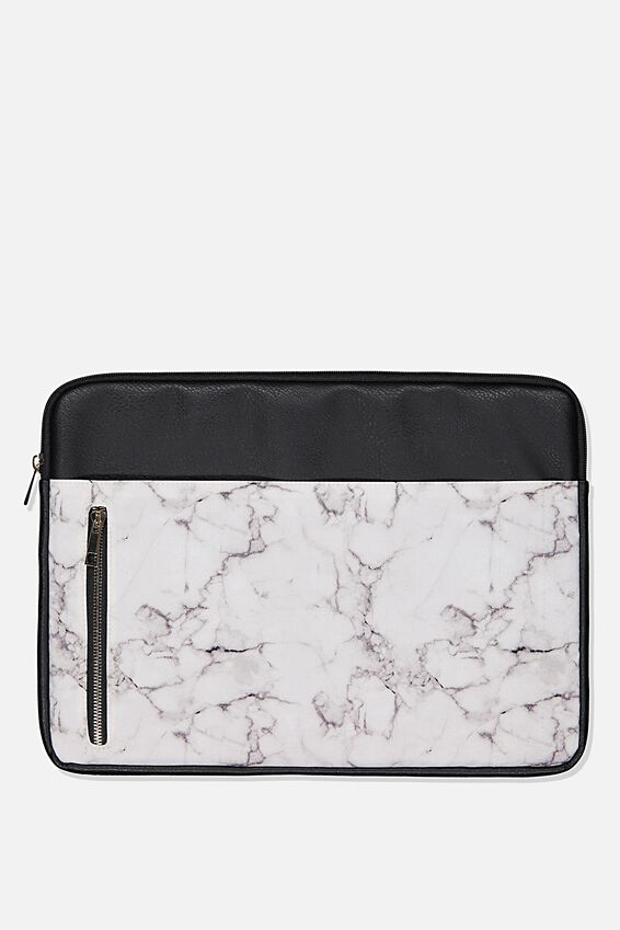 Take Charge 15 Inch Laptop Cover, WHITE MARBLE