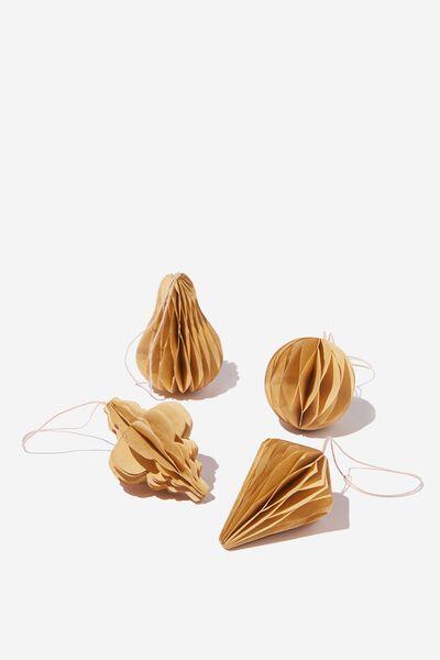 Ornament Honeycomb 4 Pack, KRAFT