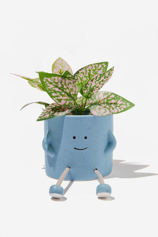 Midi Shaped Planter, DUSTY BLUE ROPE LEGS
