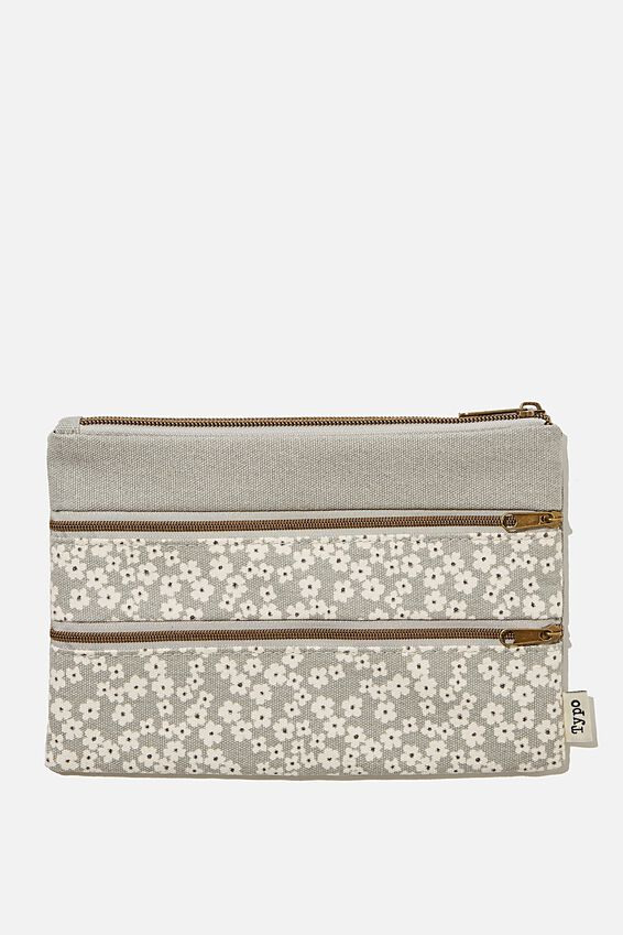 Double Archer Pencil Case, CHERRY BLOSSOM COOL GREY