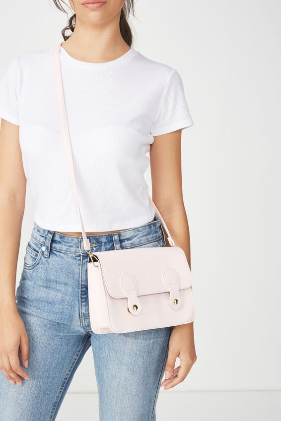 Mini Buffalo Satchel Bag, BLUSH PINK
