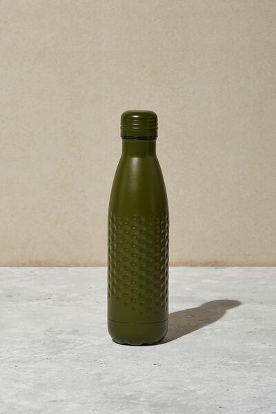 Premium Metal Drink Bottle, MATTE KHAKI HAMMERED