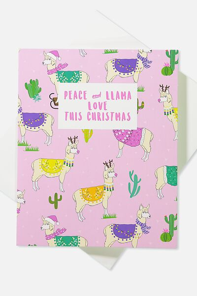 2018 Christmas Card, POP UP PEACE AND LLAMA LOVE