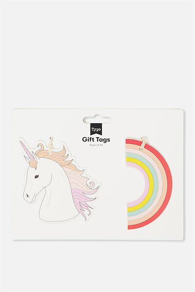 Gift Tags Set 10, RAINBOW & UNICORN
