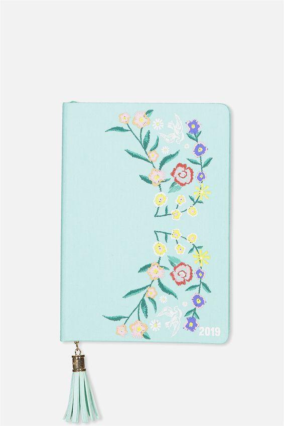 2019 Fabric Diary, BLUE BOHO EMBROIDERY