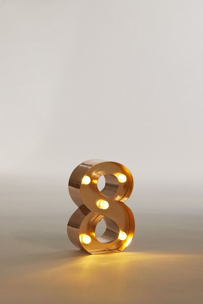 """Mini Marquee Letter Lights 3.9"""", ROSE GOLD NUMBER 8"""