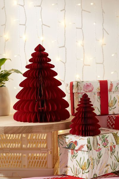 Paper Christmas Tree 2 Pack, TRUE RED