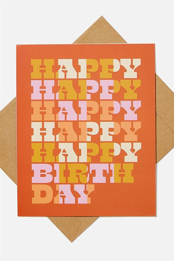 Nice Birthday Card, HAPPY BIRTHDAY RUST MUSTARD