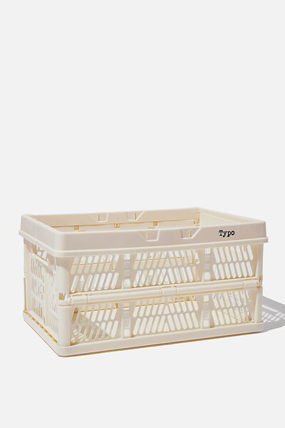 Midi Foldable Storage Crate, ECRU