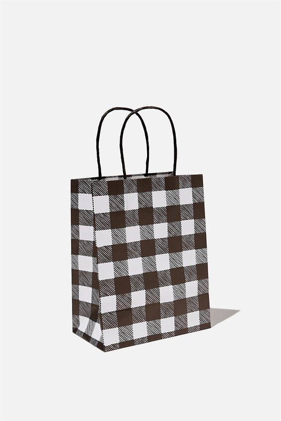Get Stuffed Gift Bag - Small, BLACK AND WHITE GINGHAM