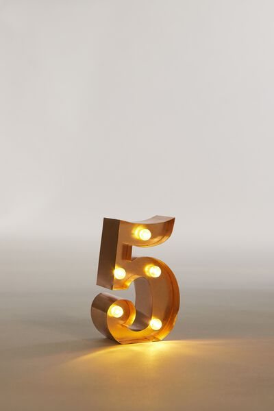 """Mini Marquee Letter Lights 3.9"""", ROSE GOLD NUMBER 5"""
