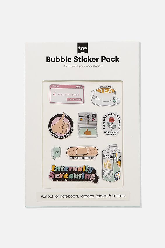 Bubble Sticker Pack, INTERNALLY SCREAMING