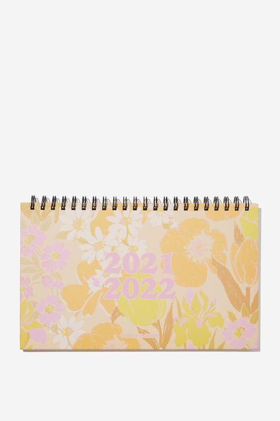 2021 22 Wide Desk Calendar, SAND GOLDIE FLORAL