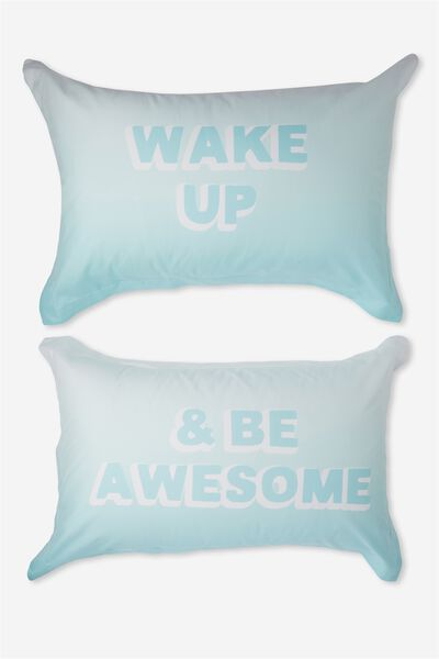 Standard Pillow Case Set, WAKE UP