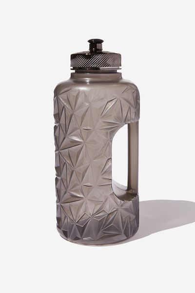 Faceted Drink Bottle, BLACK METALLIC