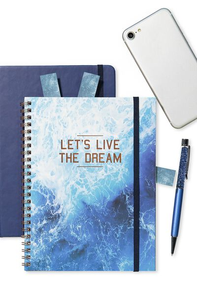 A5 Spinout Notebook - 120 Pages, WATER LIVE THE DREAM