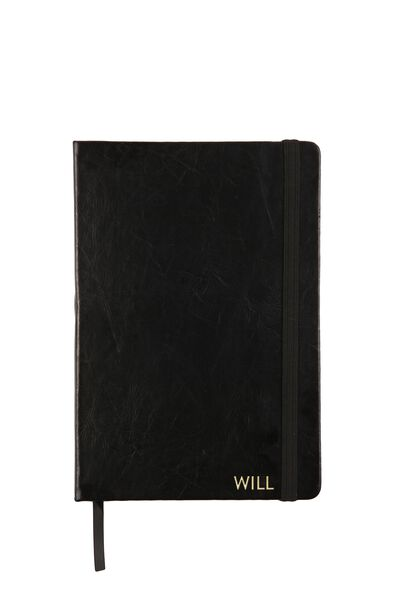 Personalised A5 Buffalo Journal, BLACK WITH GOLD FOILING