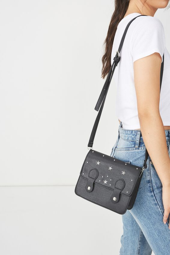 Mini Buffalo Satchel Bag, BLACK STUDDED