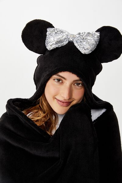 Premium Novelty Hooded Blanket, LCN DIS MK LIGHT UP MINNIE