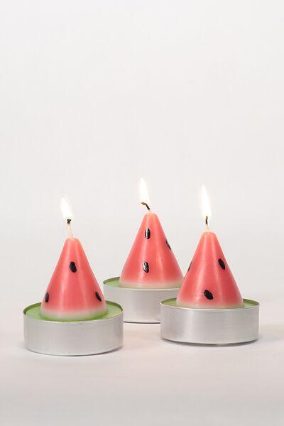 Set Of 3 Tea Light Candles, WATERMELON