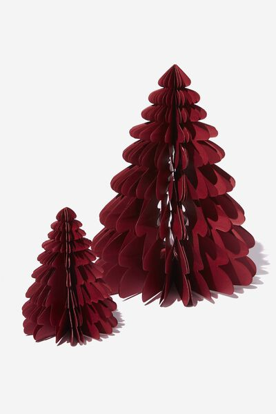 Paper Christmas Tree 2 Pack, BURGUNDY RED