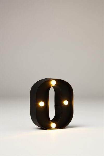 Mini Marquee Letter Lights 10cm, BLACK RUBBER O