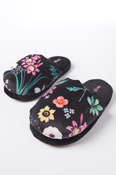 Slippers, BLACK FLORAL
