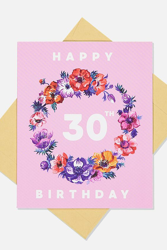 Age Card, 30TH FLOWER WREATH