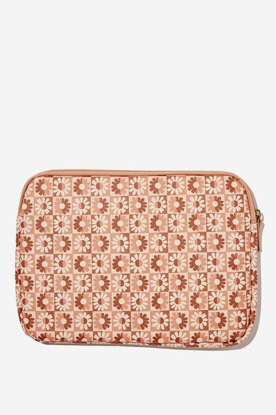 Take Me Away 13 Inch Laptop Case, STAMPED DAISY GREYSCALE