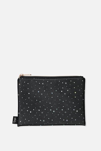 Pu Campus Pencil Case, SILVER STARS