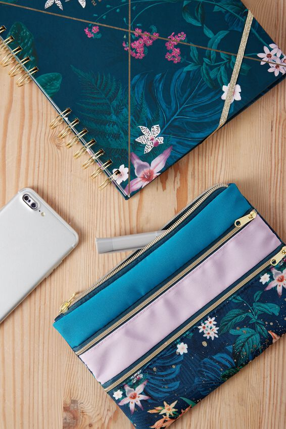 Double Archer Pencil Case, JUNGLE FLORAL