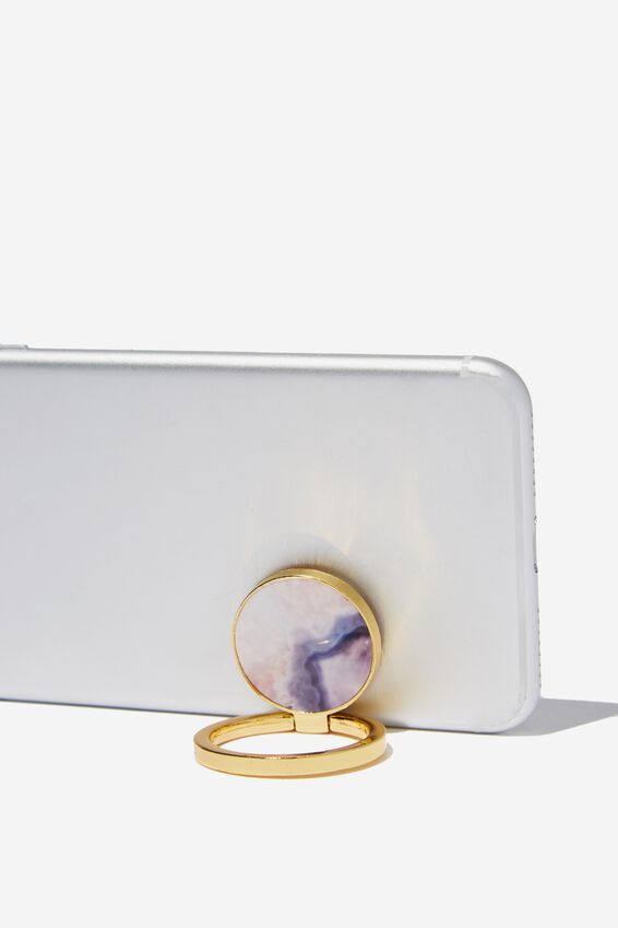 Metal Phone Ring, MOODY MARBLE STONE