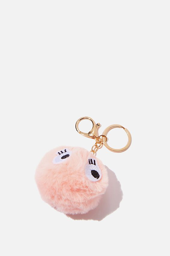 Bag Charm, GOOGLY EYES CORAL POM POM