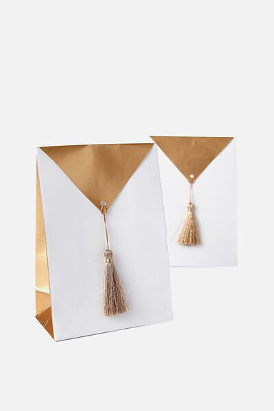 Loot Bag 10Pk, GOLD TASSEL