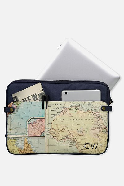 Personalised Varsity Laptop Case 13 Inch, ADVENTURE MAP